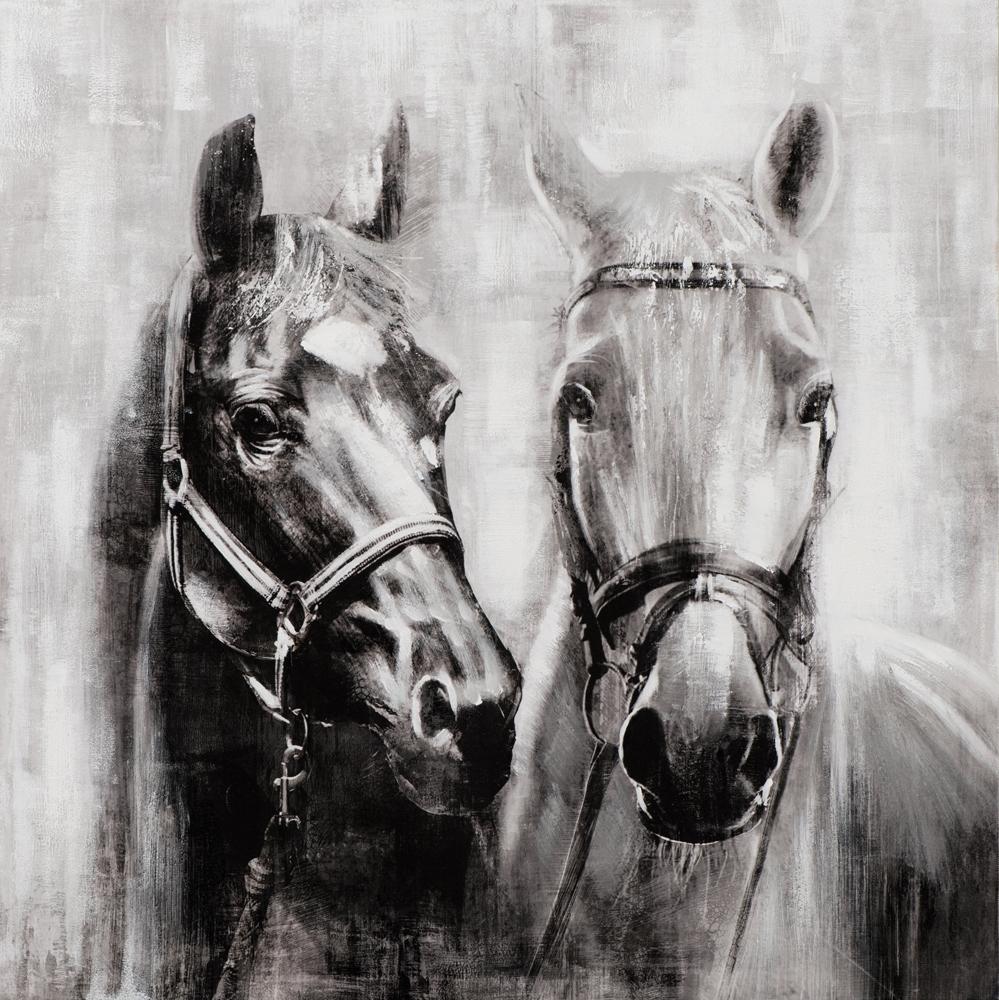 Schilderij paarden 80x80
