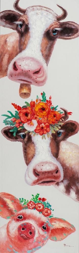 Schilderij koeien 50x160