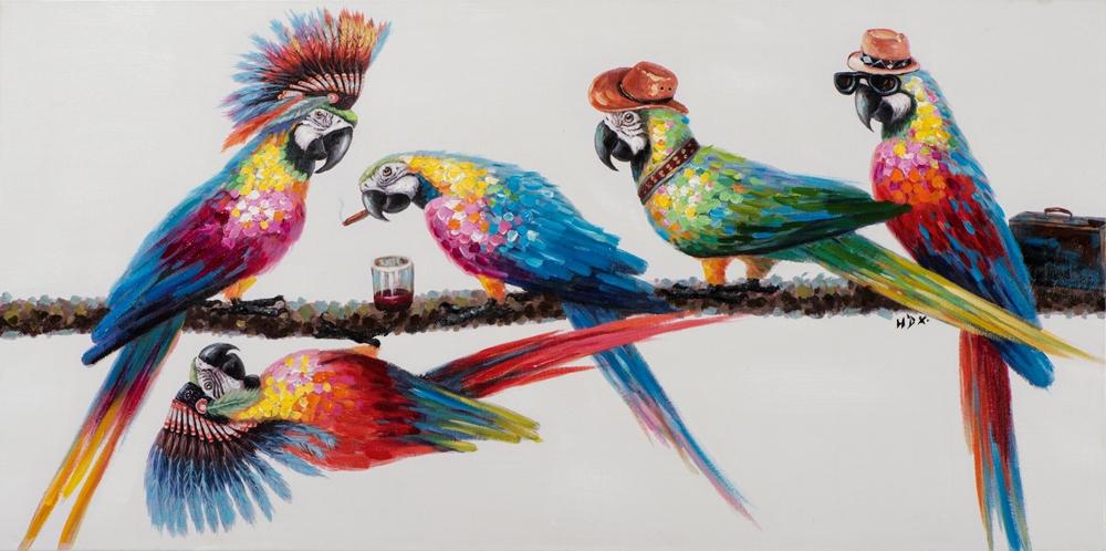 Schilderij papegaaien 70x140