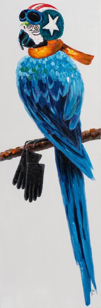 Schilderij hippe papegaai 50x150