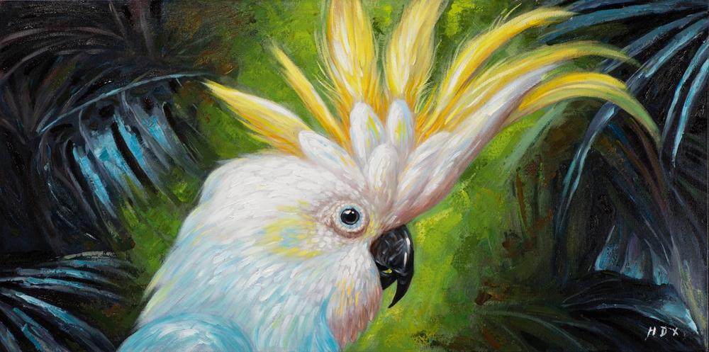 Schilderij kakatoe 70x140