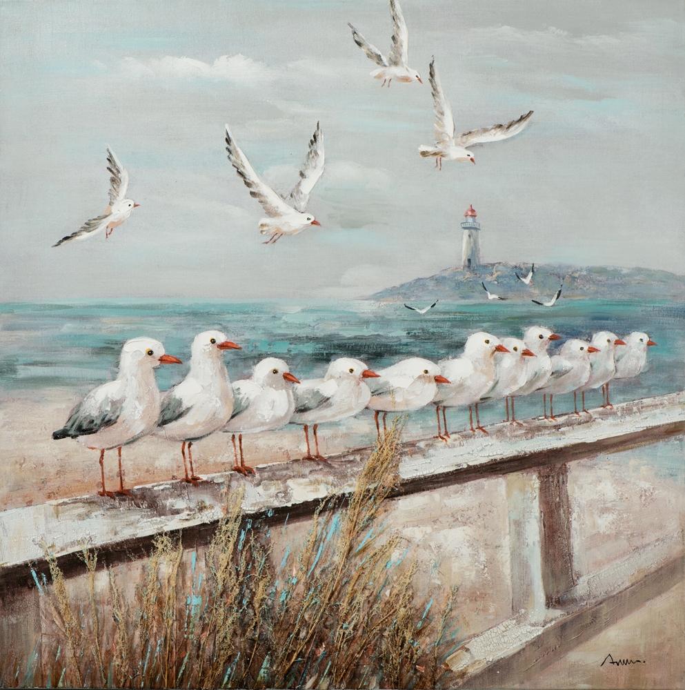 Schilderij meeuwen op het strand 100x100