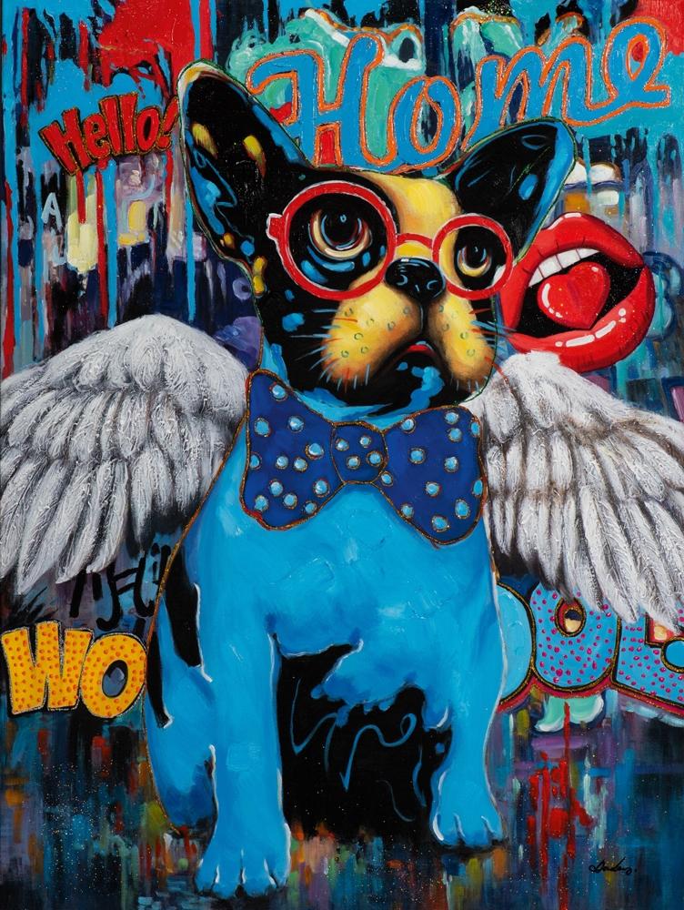 Schilderij popart bulldog 90x120