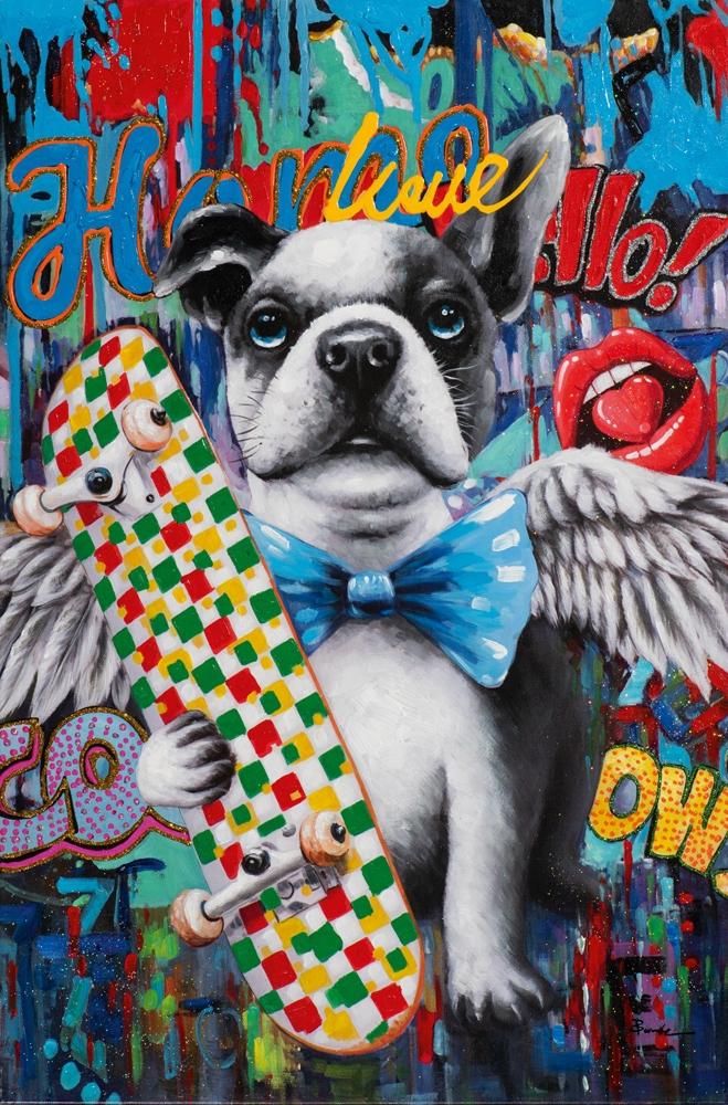 Schilderij popart bulldog 60x90