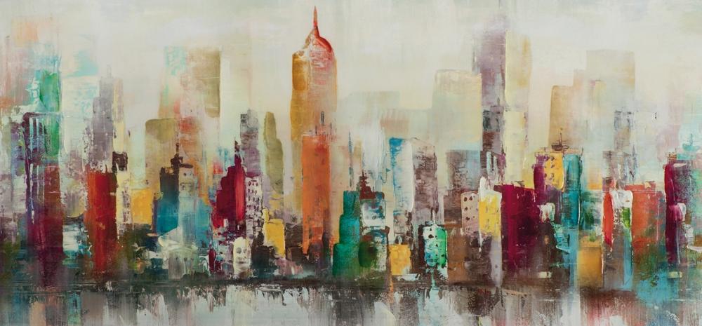 Schilderij skyline hoogglans 70x150