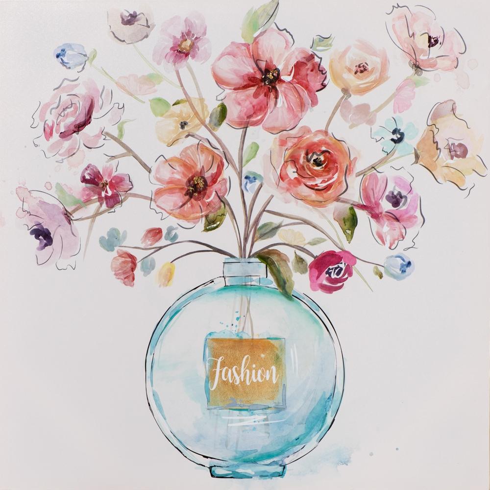 Schilderij bloem in vaas 60x60