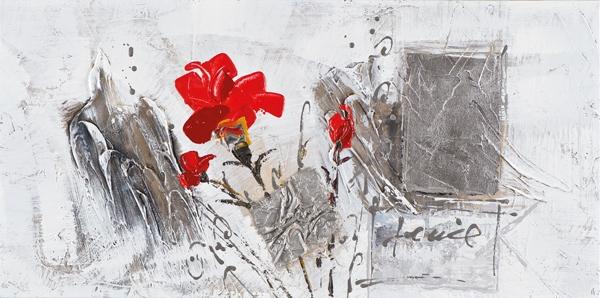 Schilderij bloemen 30x60