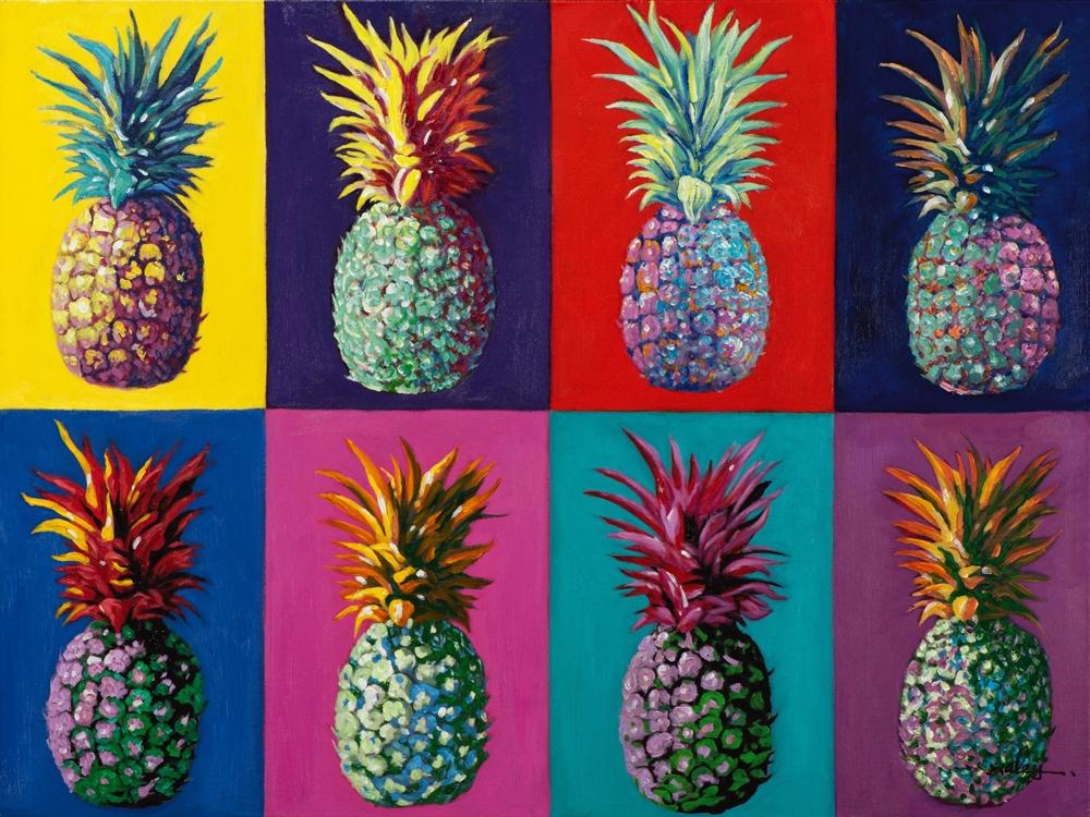 Schilderij popart ananas 90x120