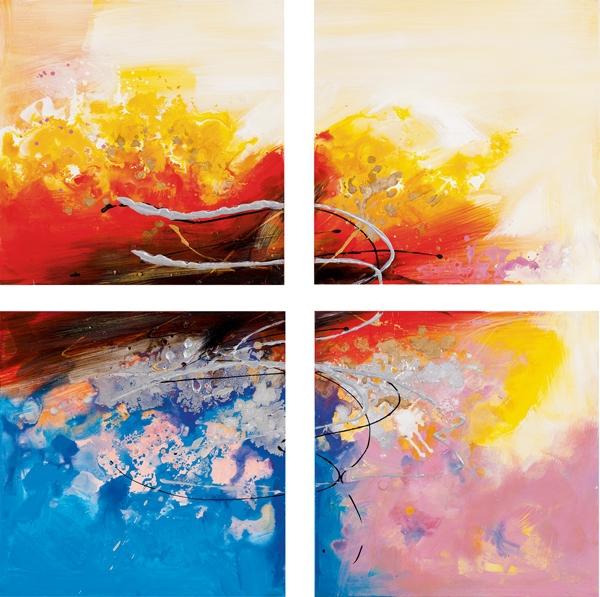 Schilderij 4luik abstract 100x100