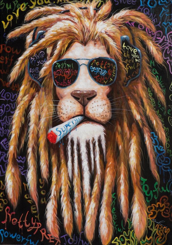 Schilderij smoking leeuw 70x100