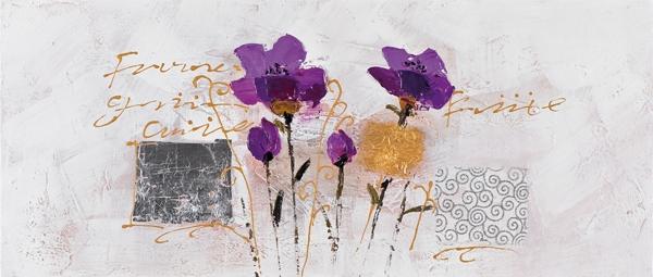 Schilderij bloemen 30x70