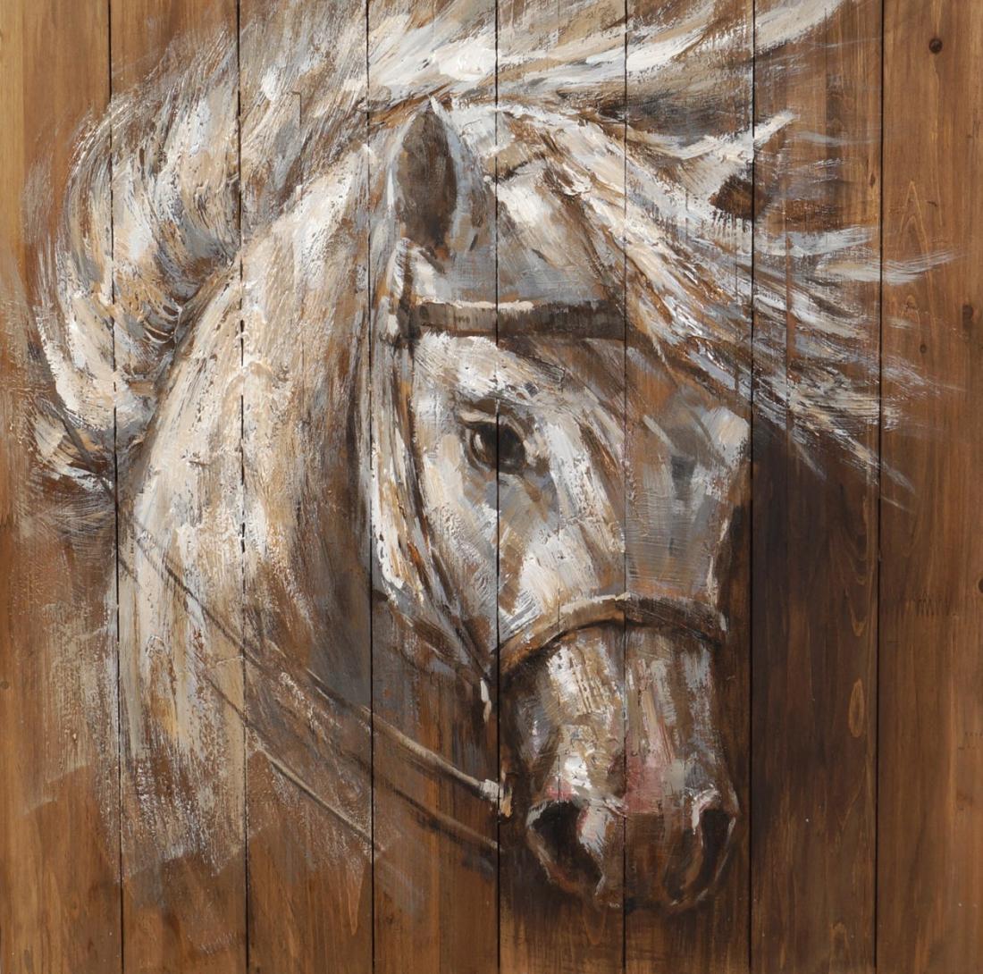schilderij paard op steigerhout 80x80
