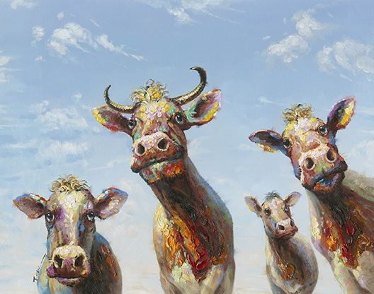 schilderij koeien 110x140