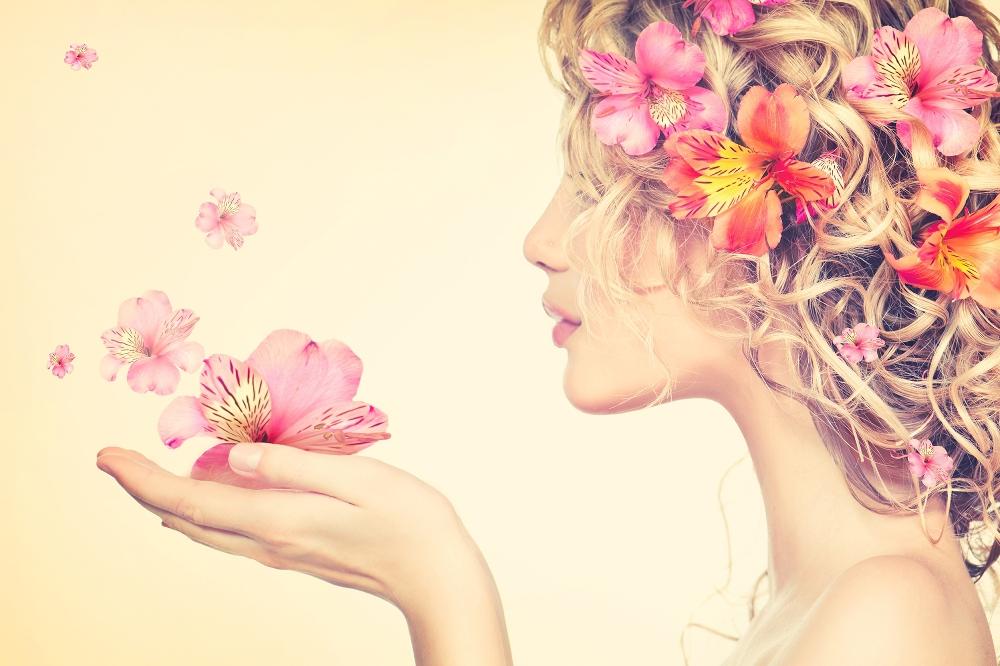 Plexiglas vrouw met bloemen 80x120