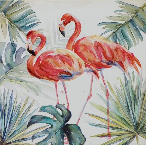 Schilderij flamingo 25x25