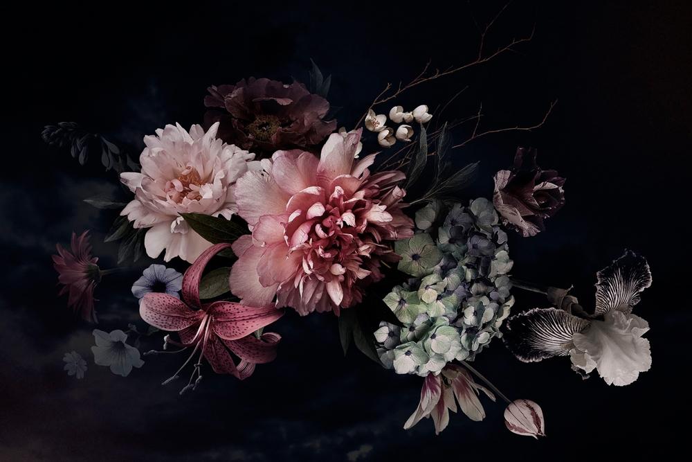 Bloemen op glas 80x120