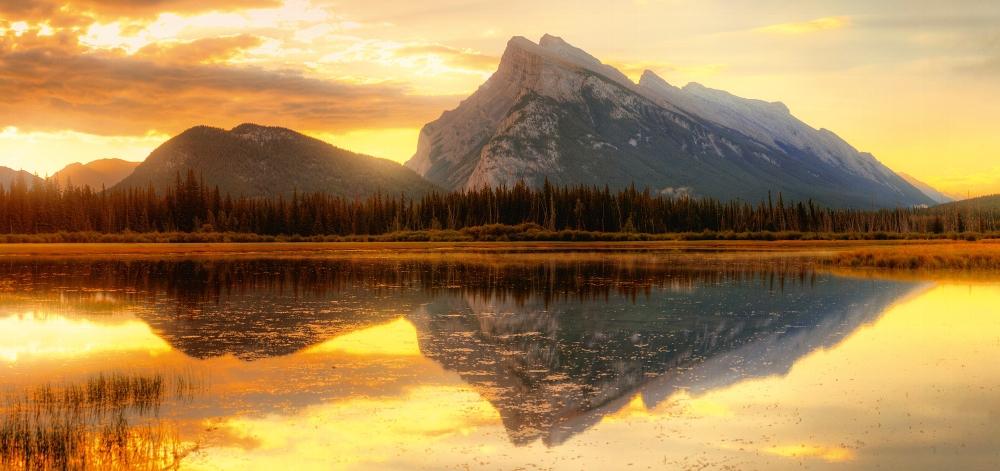 Plexiglas bergen met reflectie 66x140