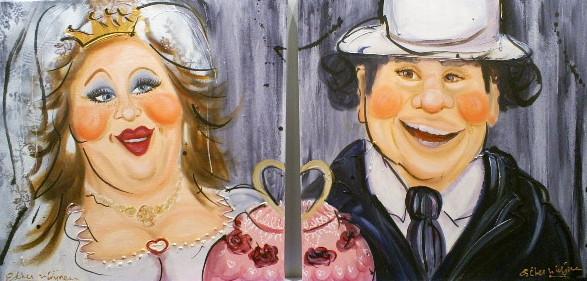 Schilderij bruidspaar set 50x100