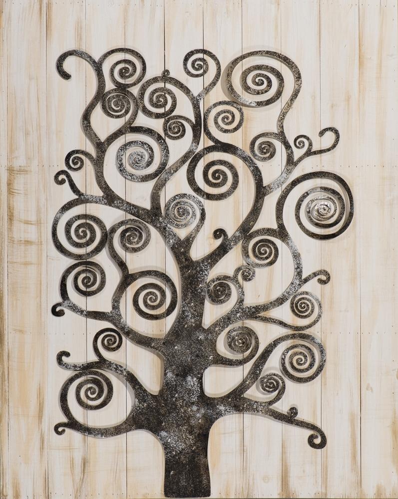 Schilderij metalen boom op hout 80x100
