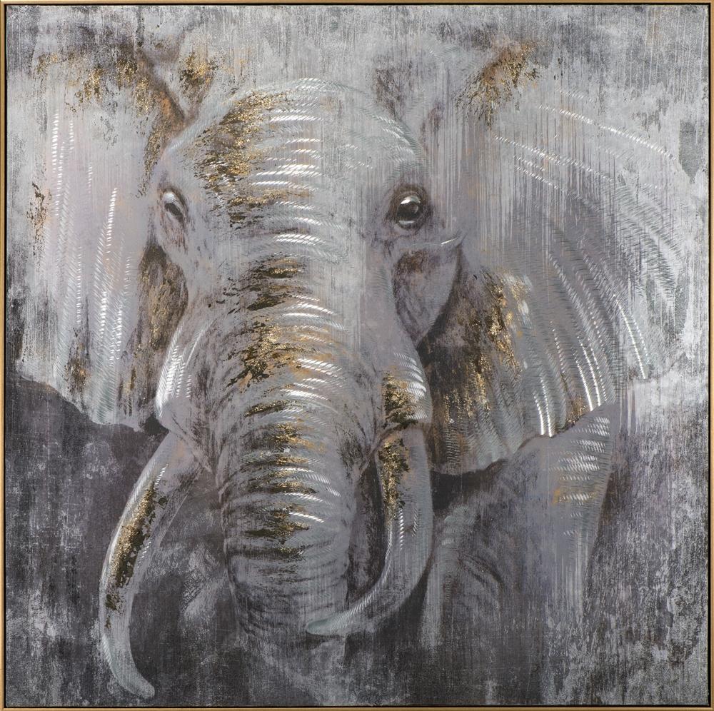 Schilderij olifant met lijst 102x102