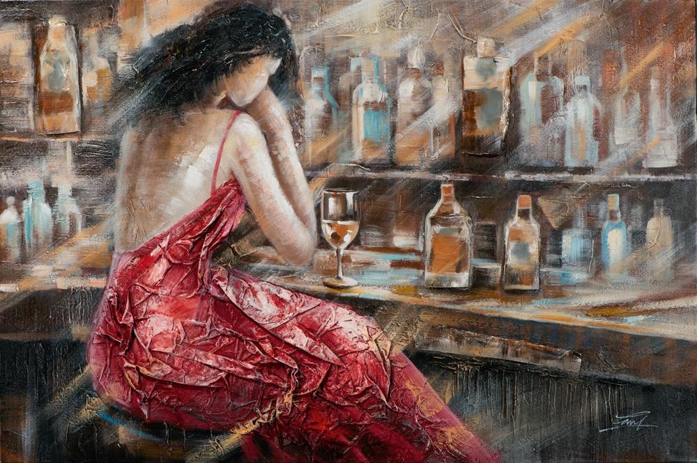 schilderij vrouw aan bar 80x120