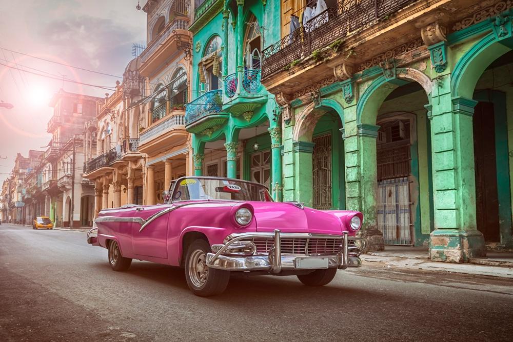 Cuba stadsgezicht op glas 80x120