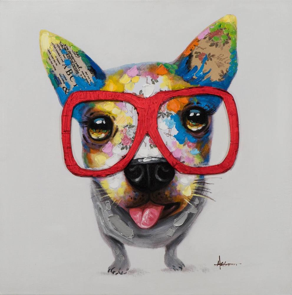 Schilderij hond met bril 70x70