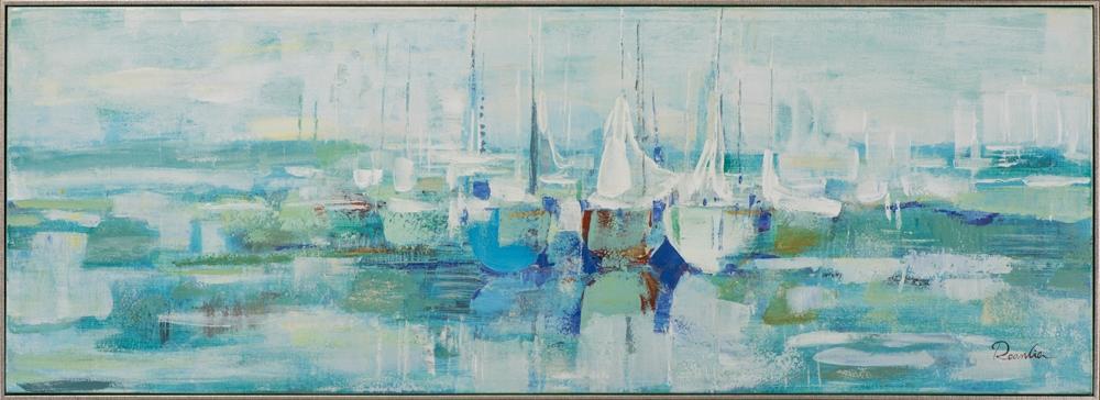Schilderij moderne bootjes met lijst 52x142