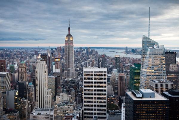 New york skyline op glas 100x150