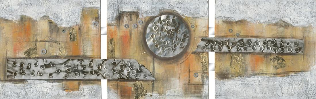 Schilderij abstract 3-luik 50x156