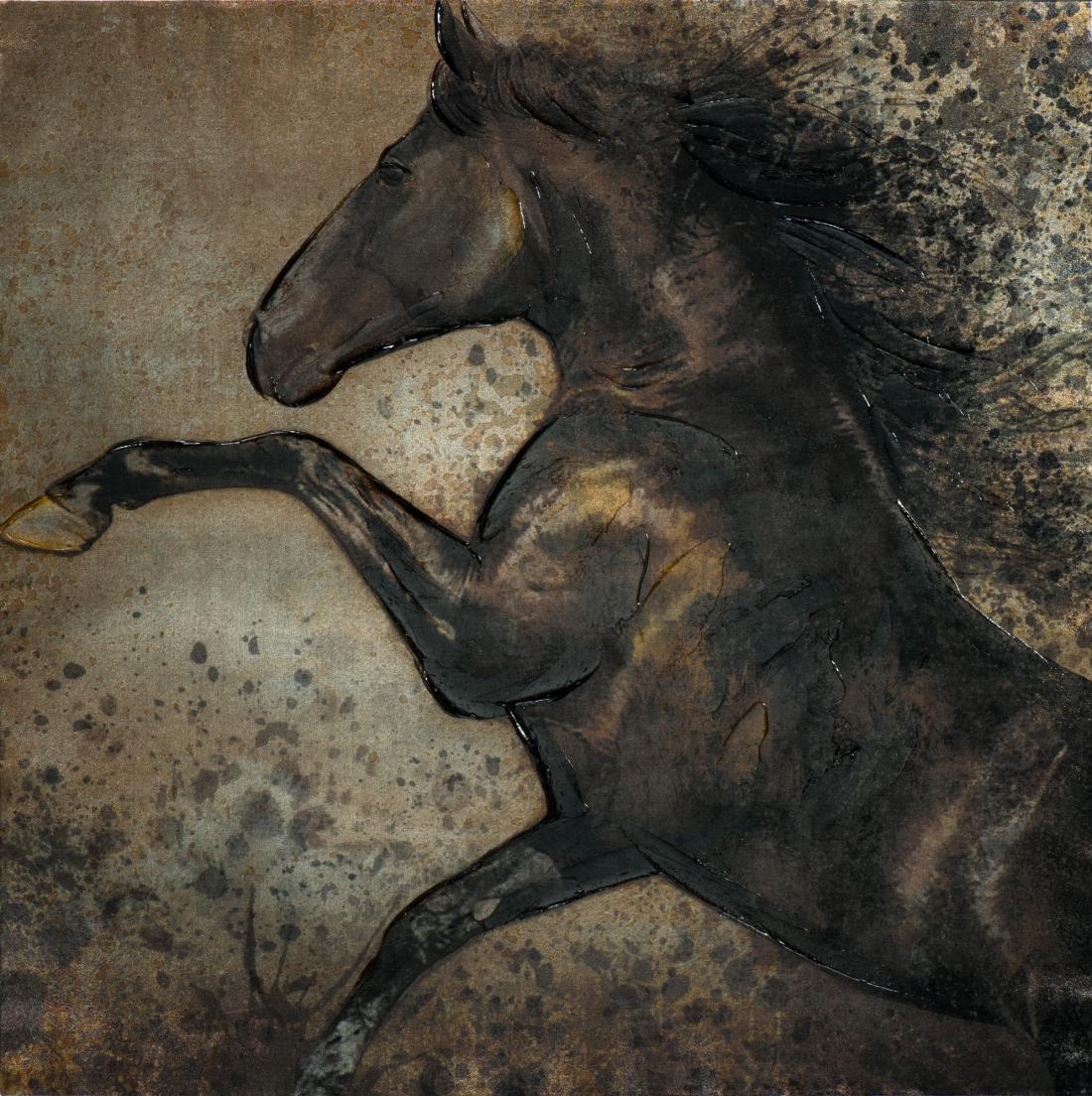 Schilderij steigerend paard 100x100