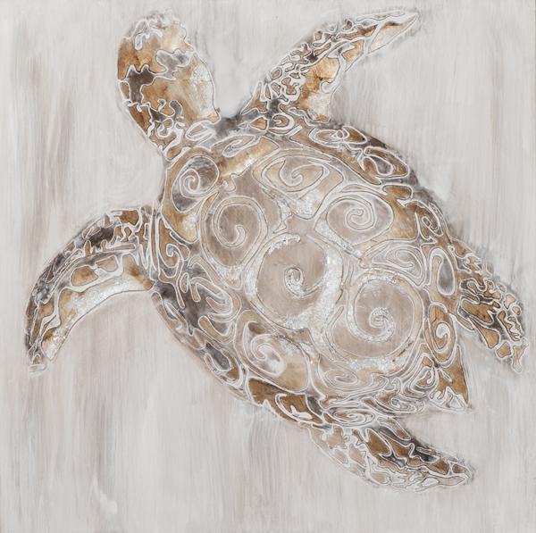 Schilderij schildpad 70x70