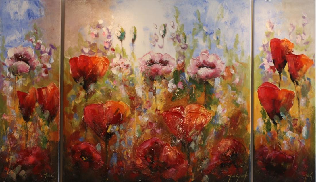 Schilderij 3 luik bloemen 90x155