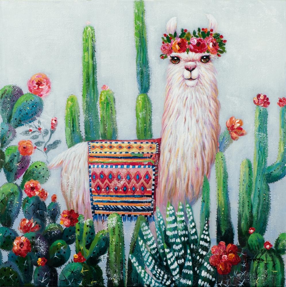 Schilderij alpaca 100x100
