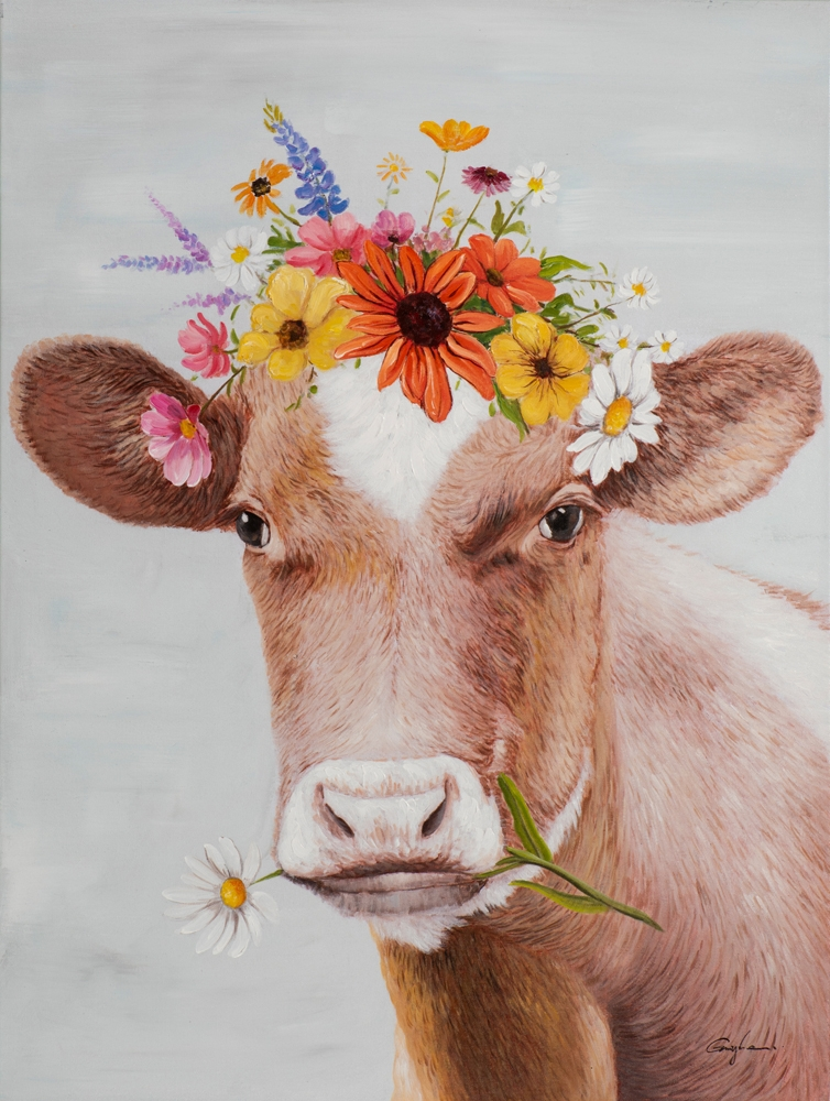 Schilderij nieuwsgierige koe 70x100