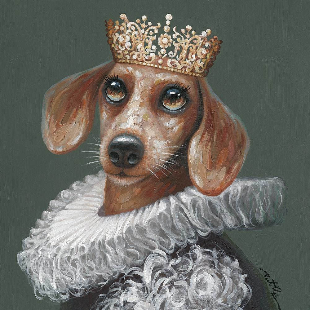 Schilderij koning hond 70x70