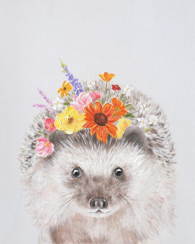 Schilderij fleurige egel 40x50