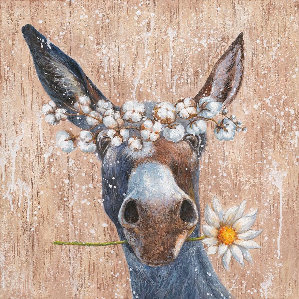 Schilderij fleurige ezel 70x70