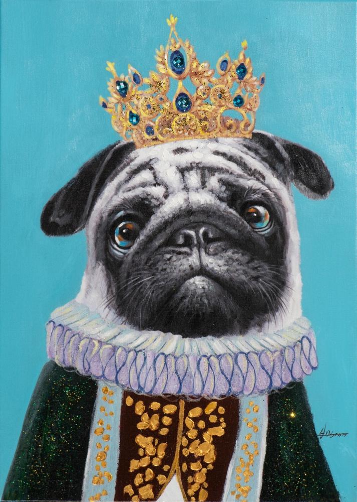 Schilderij koning pup bull dog 50x70