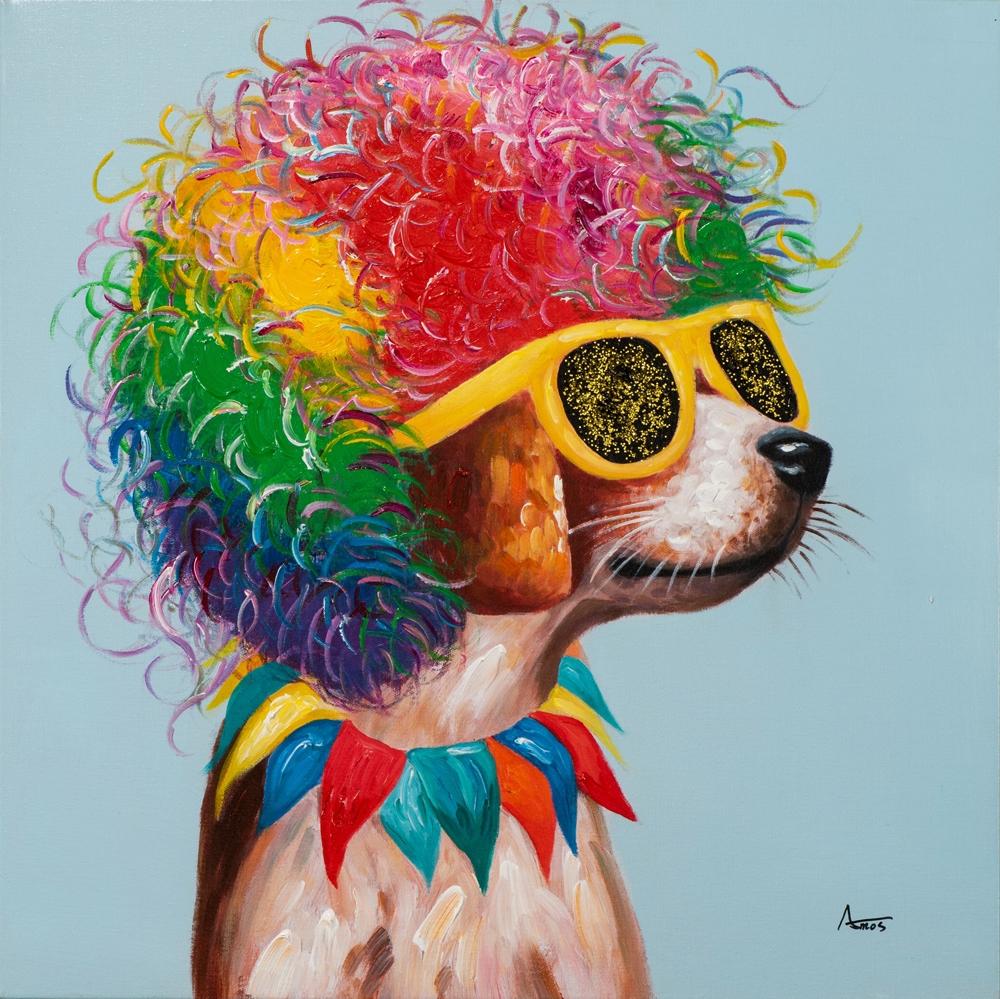 Schilderij disco doggo 70x70