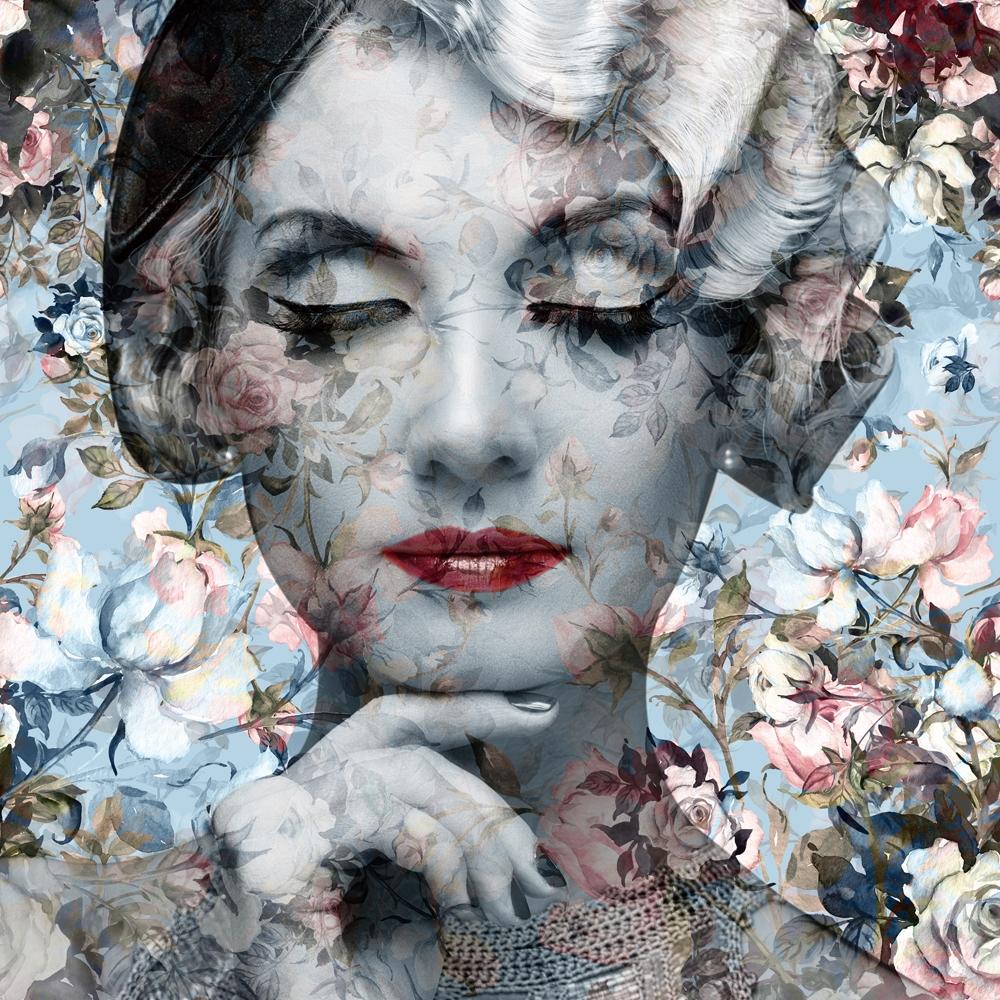 bloemen dame op glas 100x100