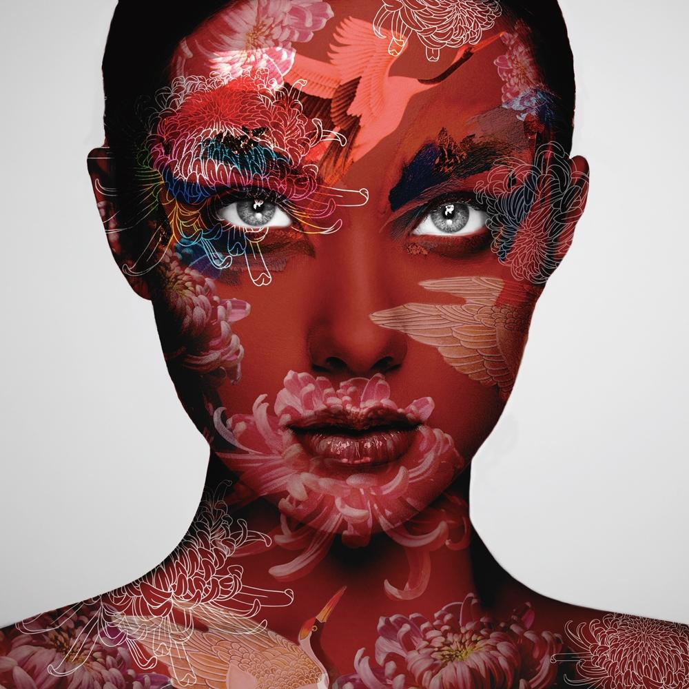 glasschilderij camouflage vrouw 100x100