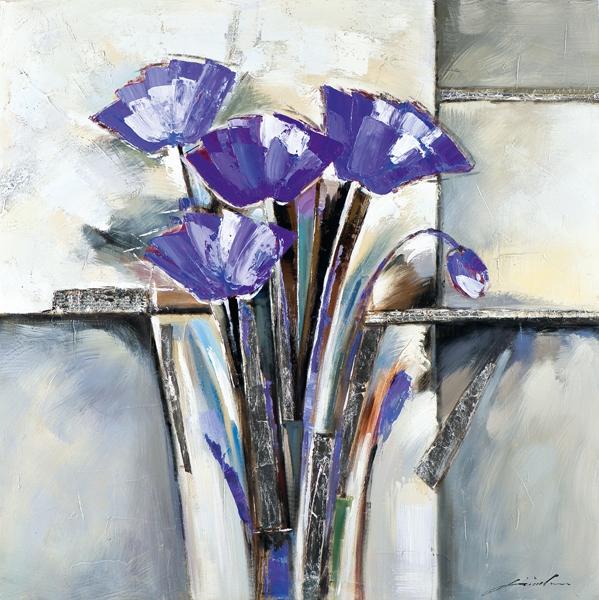 Schilderij bloemen 75x75