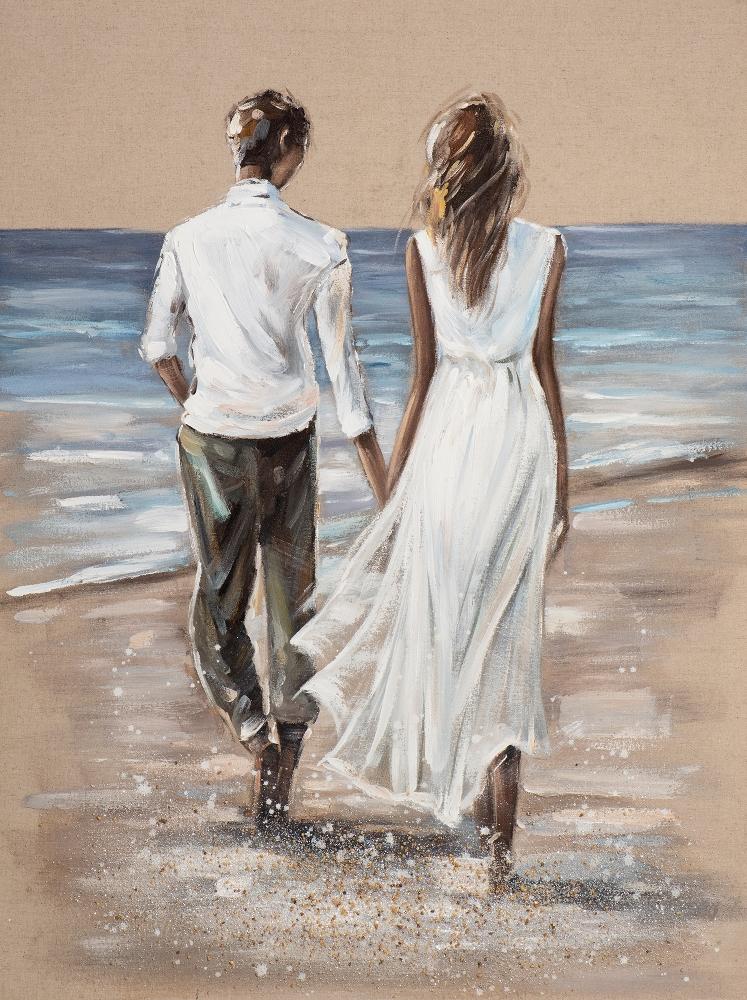 Schilderij strandwandeling 90x120