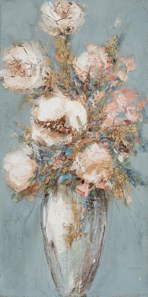 Schilderij bloemen in vaas 50x100