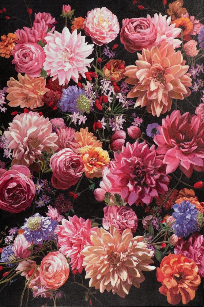 Schilderij retro bloemen 100x150
