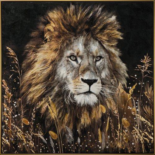 Schilderij leeuw met lijst 102x102