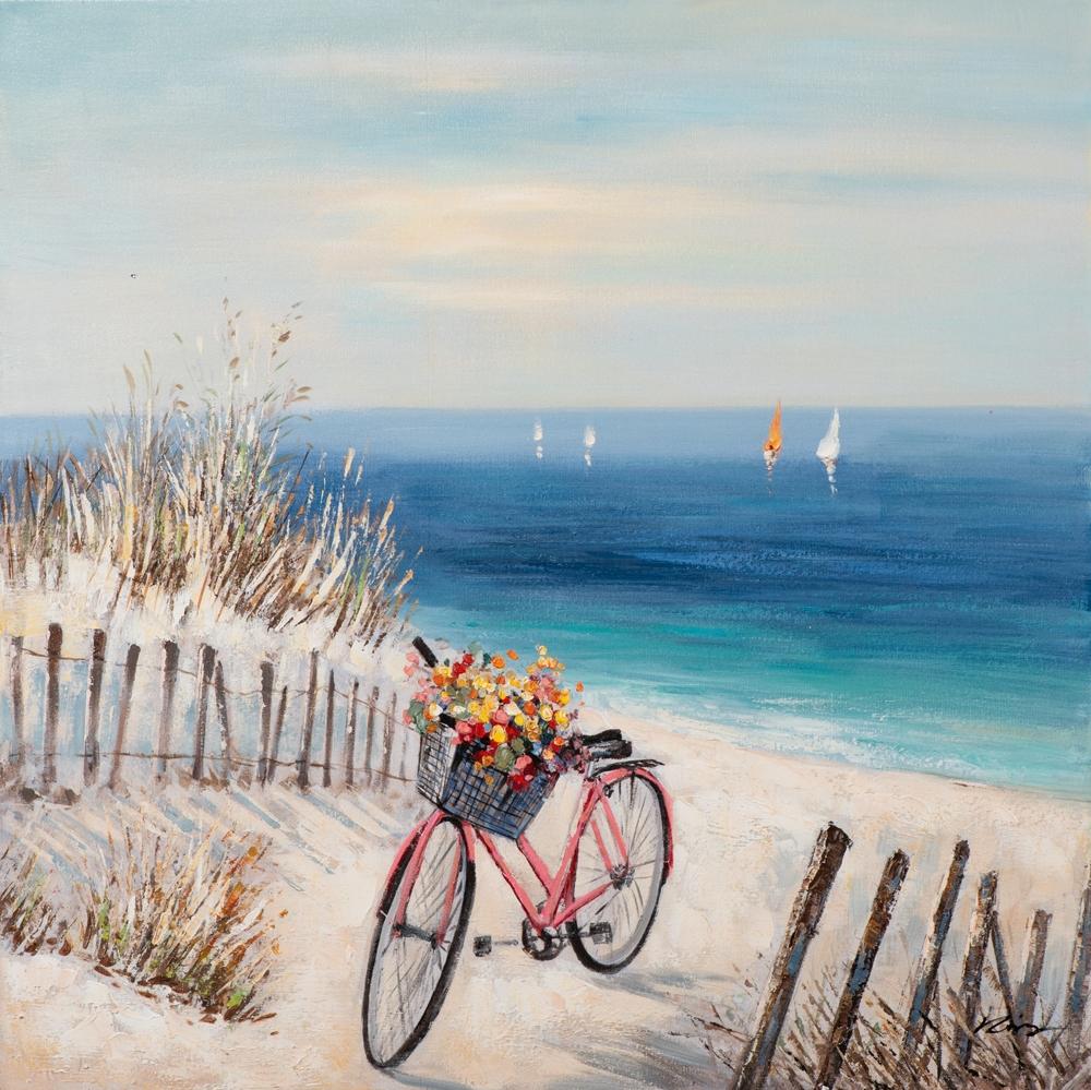schilderij zeezicht met fiets 100x100