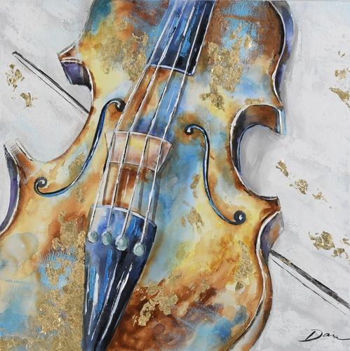 Schilderij viool 70x70