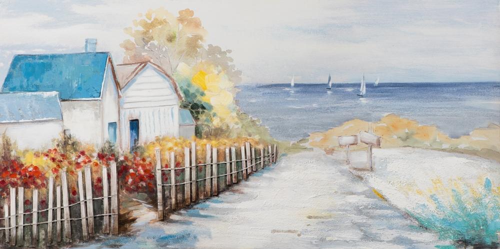 Schilderij strandhuisjes 70x140